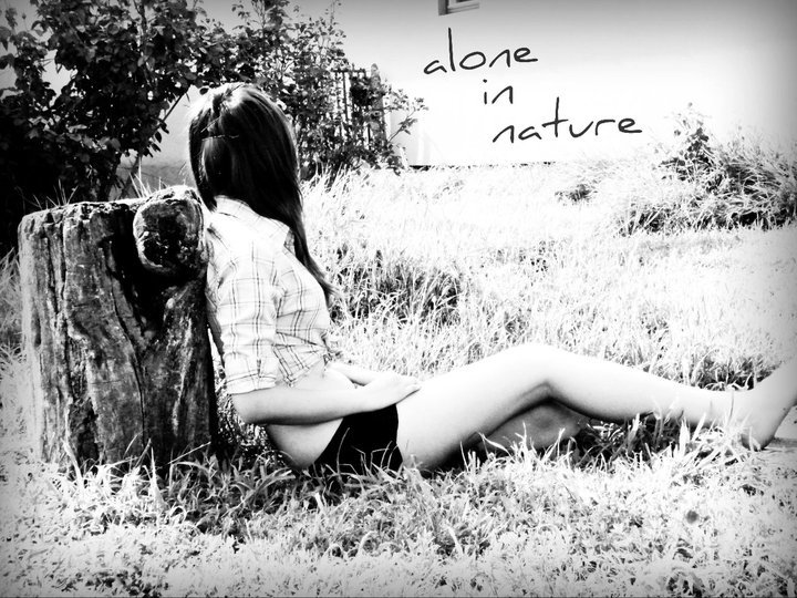 alone, balck and white, beautiful, girl, grass