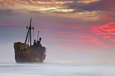 alone, deserted, fog, ghost ship, journey, lost, sea, ship, sunset