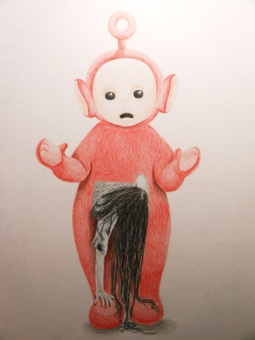 alternative, art, beautiful, black and white, creepy, cute, emo, gore, hoe, macabre, mimsy, pretty, red, scare, scary, teletubbies, the ring, whore