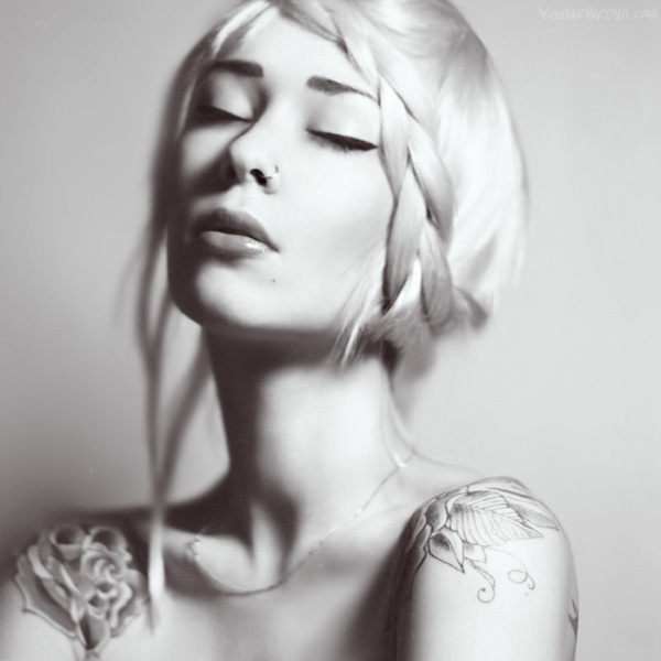 alternative, beauty, blonde, braid, girl, photography, pretty, tattoo, tattoos