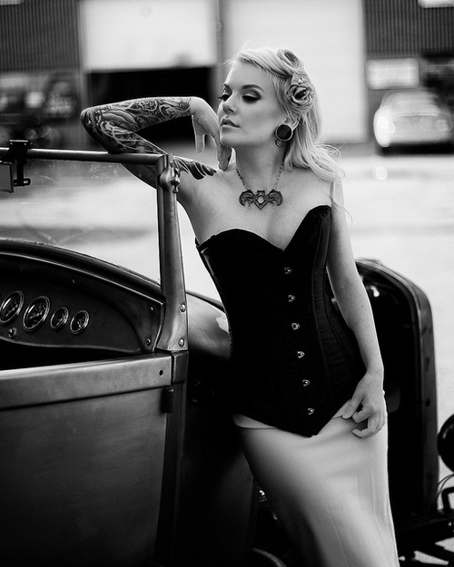 alternative, black and white, car, corset, girl
