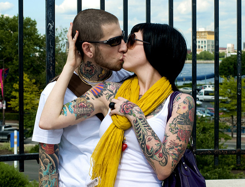 alternative, boy, couple, cute, cute boy, cute girl, cute guy, girl, guy, hair, kiss, kissing, love, man, scene, tattoo, tattoos