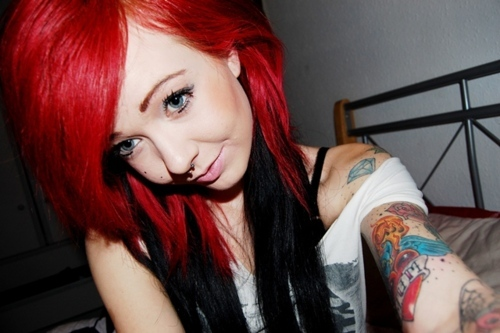 alternative, cool, cute, girl, hair, make up, model, photography, pretty, redhead, scene, tattoos