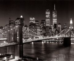 amazing, brooklyn bridge, lights, new york, night, skyscrapers