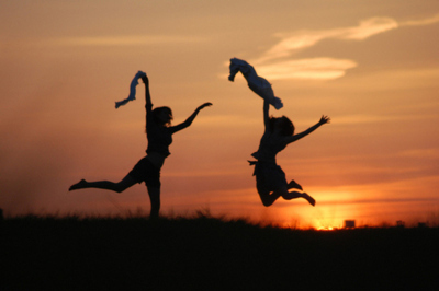 amazing, dancing, dark, girls, light, photography, silhouette, sunset