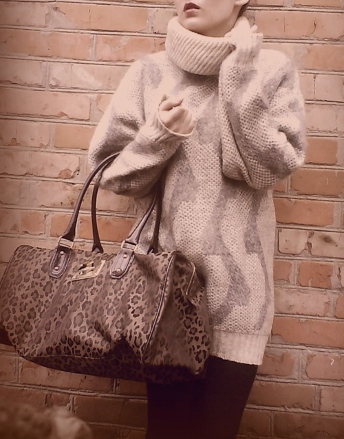animal print, bag, fashion, girl, knit, knitted, leopard, photography, purse, style, sweater