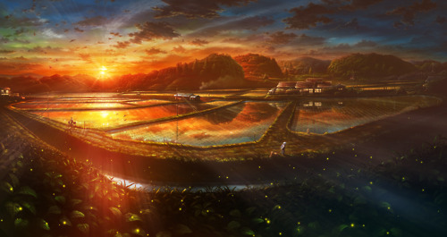 anime, art, beautiful, original, scenery, sun