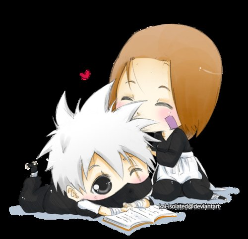 anime, chibi, cute, happy, kakashi hatake, kakashi rin, kawaii, love, naruto, rin, sweet