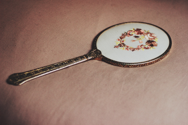 antique, floral, lovely, mirror, vintage