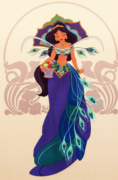 arabian, artwork, disney, jasmine, peacock
