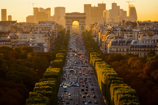 arc, cars, france, paris, sun