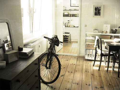 architecture, art, beautiful, bike, desk, hipster, indie, life, light, morning, photo, photography, room, sun, tish, white, window, wood