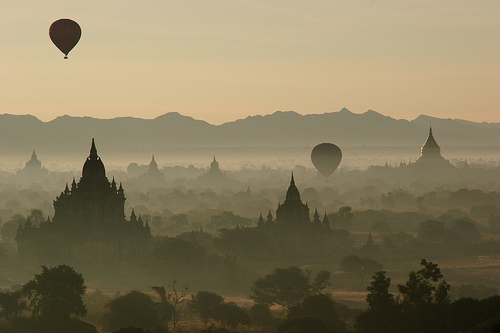 architecture, beauty, brown, hot air balloons, india, landscape, sunrise, photography