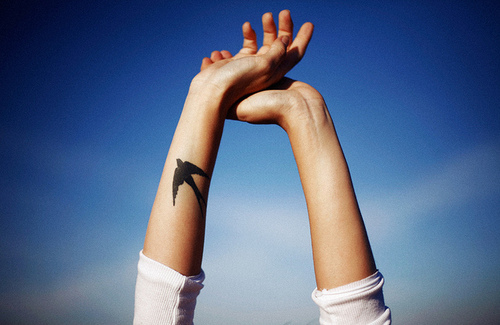 arm, beautiful, bird, free, girl, hand, love, tattoo, thinspo