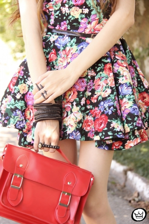 arms, black, brunette, dress, fashion, flowers, hands, model, photo, photograph, photography, pretty, purse, red, sexy, style, woman