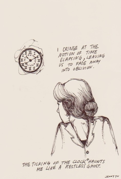 art, b&w, clock, drawing, girl
