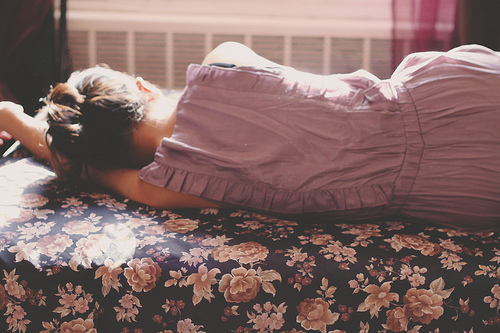 art, bed, blanket, chignon, dress, fashion, flowers, girl, hipster, indie, photography, room, vintage