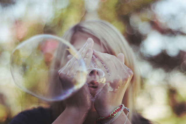 art, blonde, bokeh, bubble, bubble blower