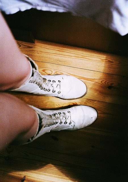 art, boots, film, girl, grain, hipster, pavement, shoes, indie, photography, vintage, white, legs, parquet