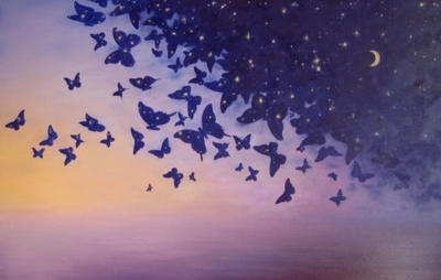 art, butterflies, butterfly, creative, day, day and night, light, moon, night, stars