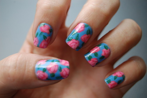art nails, blue, floral, flores, flower