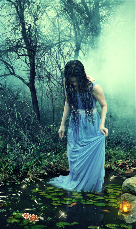 art print, blue dress, creepy, fog, girl