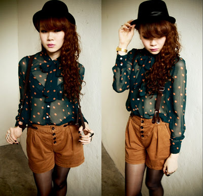 asian, fashion, hat, lookbook, outfit, polka dots, polkadots, style, vintage