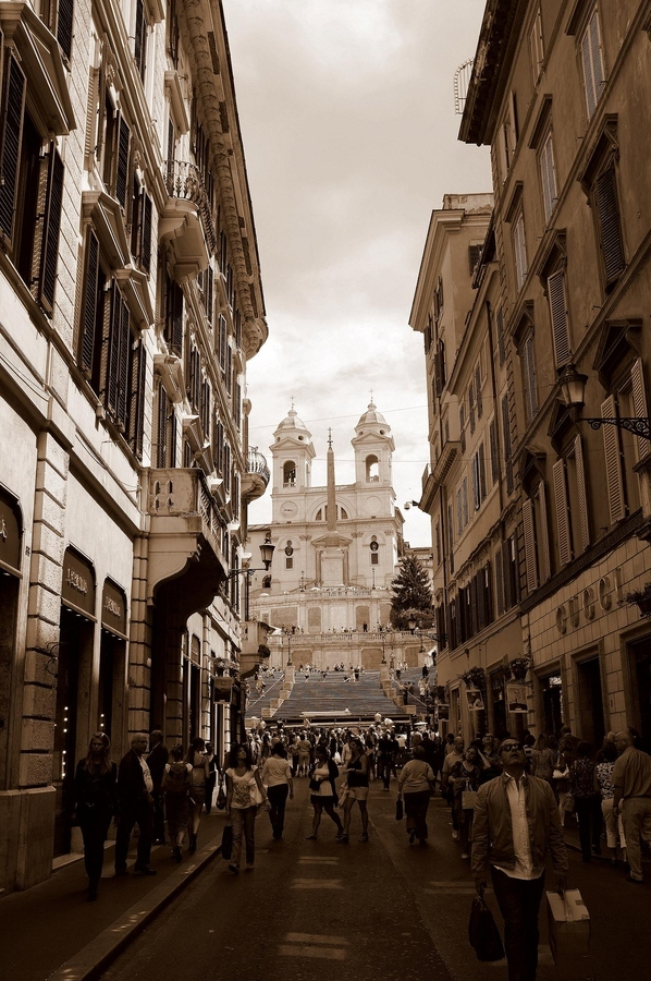 awsome, beautiful, buildings, chiesa, church, city, cool, europa, europe, fashion, foto, gucci, iglesia, italia, italy, lucy, photo, photography, piazza spagna, roma, rome, scale, separate with coma, sepia, shops, stairs, street, travel