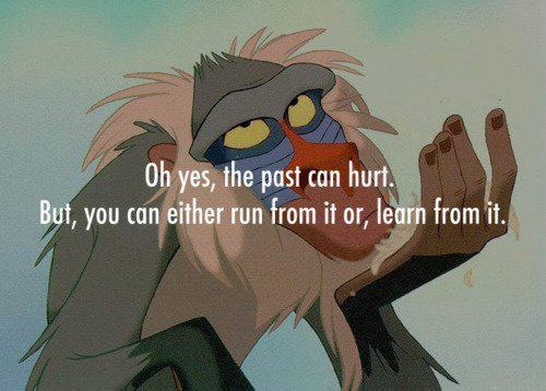 baboon, babuun, cartoon, disney, fact, hurt, learn, lion king, monkey, movie, past, quote, text, true