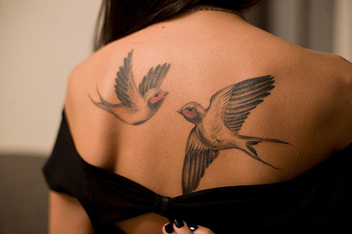 back, birds, girl, photography, tattoo