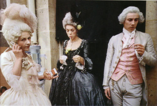 backstage, behind the scenes, black, dress, gown, hair, kirsten dunst, marie antoinette, pale, pastel, pink, smoking, wigs