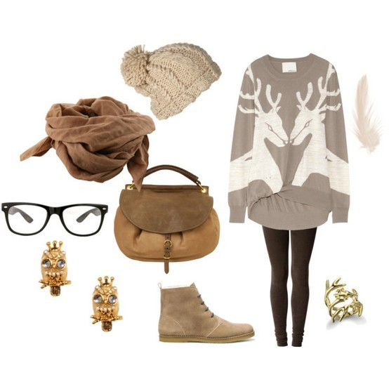 bag, beanie, beret, boots, brown, clothes, cute outfit, earrings, fashion, feather, girl, glasses, knit, leggings, purse, ring, scarf, shoes, sweater