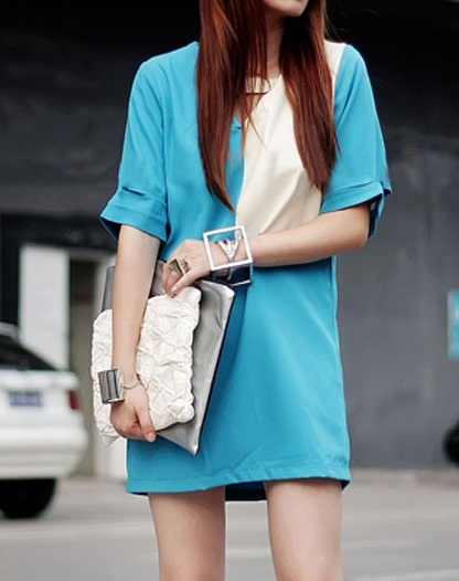 bag, blue, cute, dress, fashion, girl, skirts, street style, white