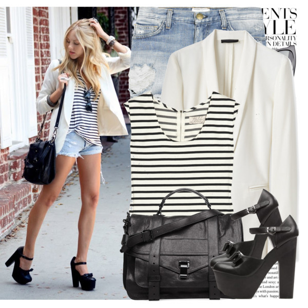 bags, black and white, cute, fashion, polyvore, shoes, stripes