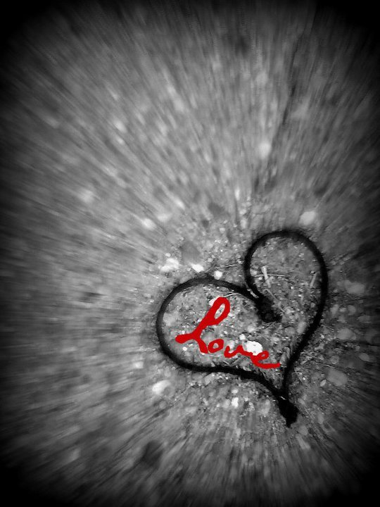 balck, black and white, heart, love, pavement, red, the, white, xenia