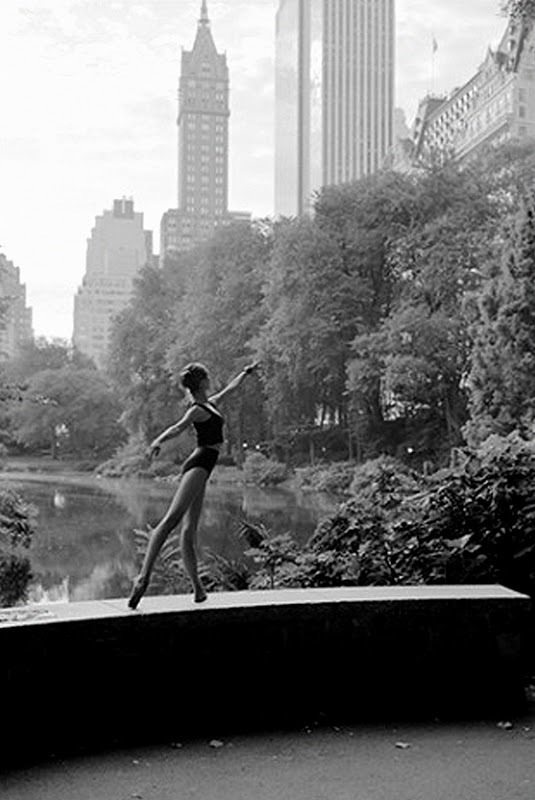 ballerina, black and white, city, dancer, girl