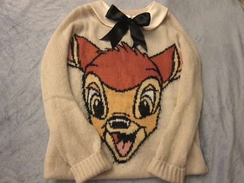 bambi, bow, collar, cute, jumper, knit