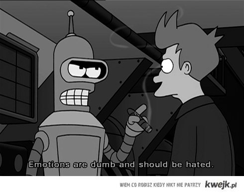 b&w, bender, emotion, futurama, quote