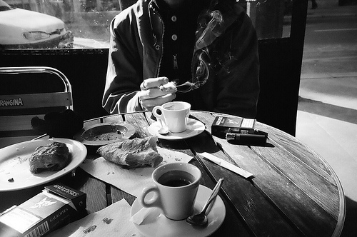 b&w, cafe, chatting, ciggarettes, coffee, marlboro, morning, photography, smoke, smoking, waiting