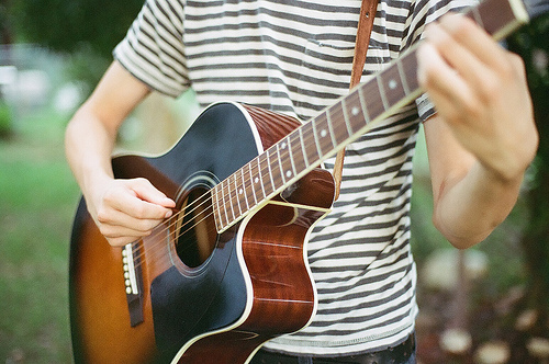 band, boy, guitar, music, steel strings