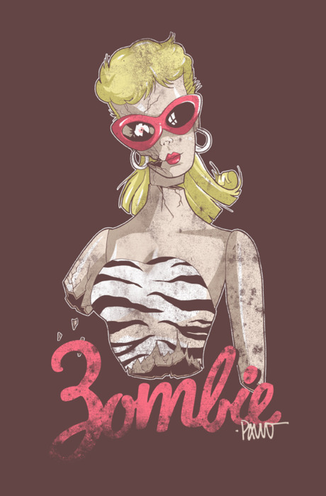 barbie, illustration, pin up, pink, rockabilly, vintage, zombie