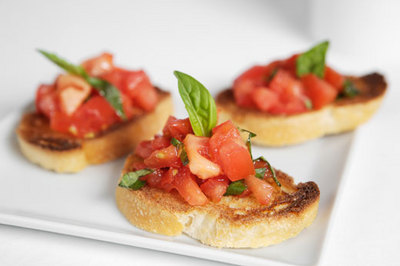 basil, bruschetta, food, grilled bread, olive oil, tomato