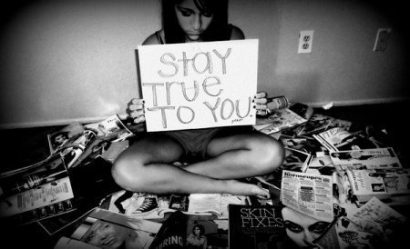 be you, black and white, brunette, girl, isdom, magazines, papers, picture, plug, quote, stay true, text, true, vintage, words, you, yoursef