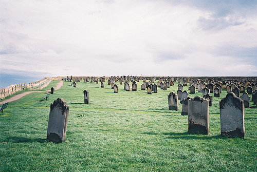 beach, beautiful, cemetery, clouds, grassland, gravestones, graveyard, landscape, lonely, ocean, photo, photography, sea, sky, view