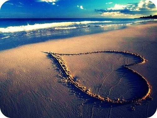 beach, heart, love heart, sand, waves