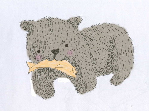 bear, desenho, design, fish, peixe