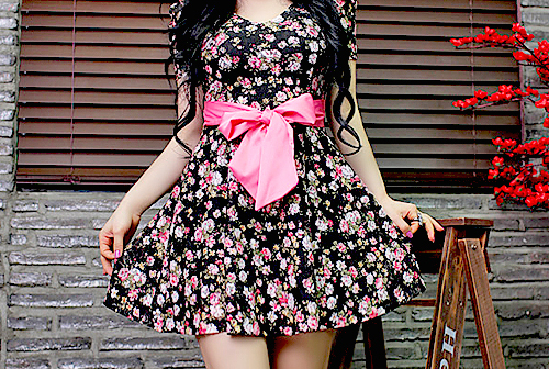 beautiful, black, color, colors, cute, dress, fashion, flowers, girl, hair, party, pink, pretty, ribbon