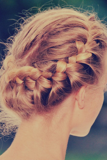 beautiful, blonde, blonde hair, braide, braided bun, fish tail, girl, hair, hairstyle