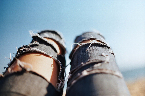 beautiful, blue, clotes, clothe, fashion, girl, jeans, leg, legs, ripped, ripped jeans, sky, style