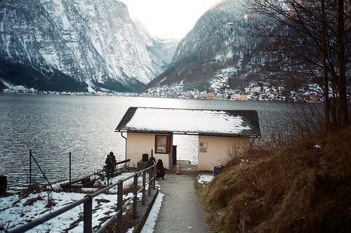 beautiful, boathouse, boy, cute, girl, guy, lake, mountains, nature, photo, photography, shed, snow, vintage, winter